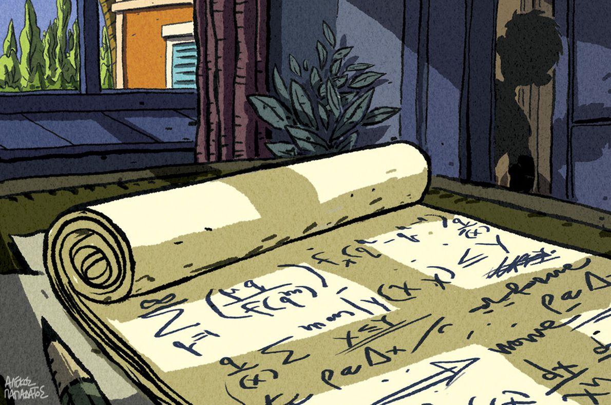 """Εικονογράφηση για τον """"Θείο Πέτρο"""" του Απόστολου Δοξιάδη στην αμερικάνικη έκδοση (Bloomsbury)"""