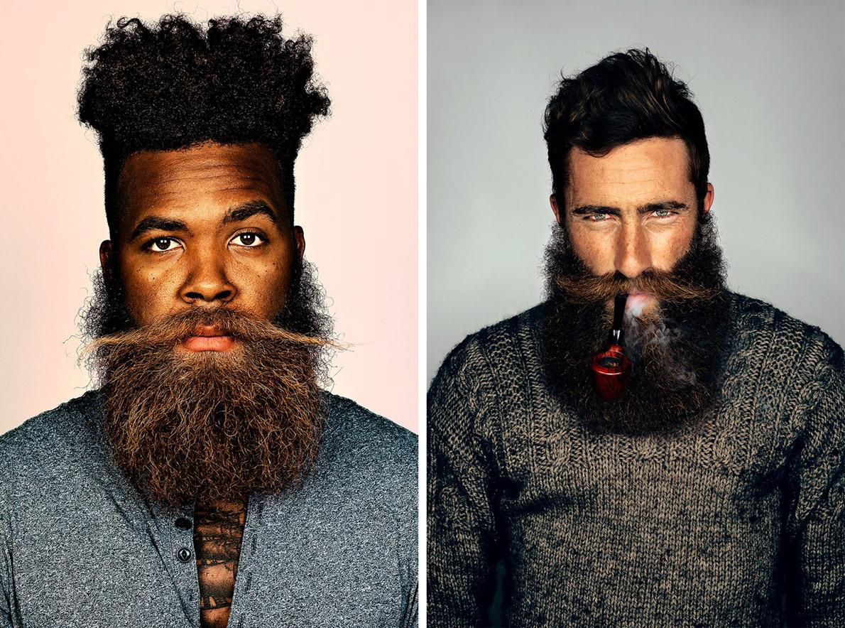 Αριστερά: Ο 28χρονος Αμερικανός από τη Φλώριδα Brandon Baker έχει τρία χρόνια να ξυριστεί και συνεχίζει ακάθεκτος μέχρι να δει πού θα φτάσει. Δεξιά: Ο εμπνευστής της καμπάνιας Jimmy Niggles δεν θα αποχωριστεί το μούσι του μέχρι να πετύχει το στόχο του.
