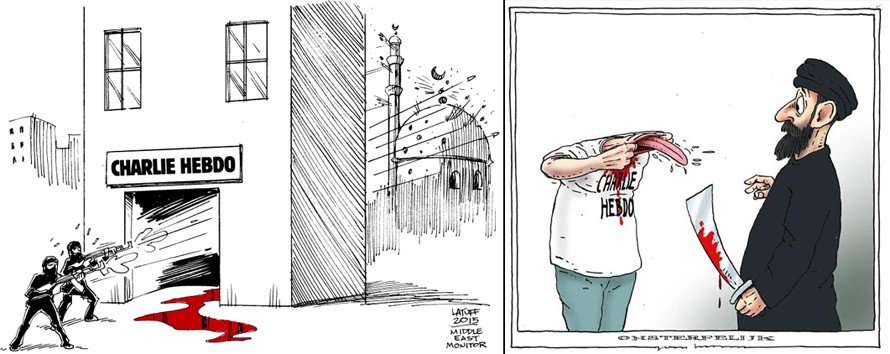 Αριστερά: Carlos Latuff, Δεξιά: Joep Bertrams