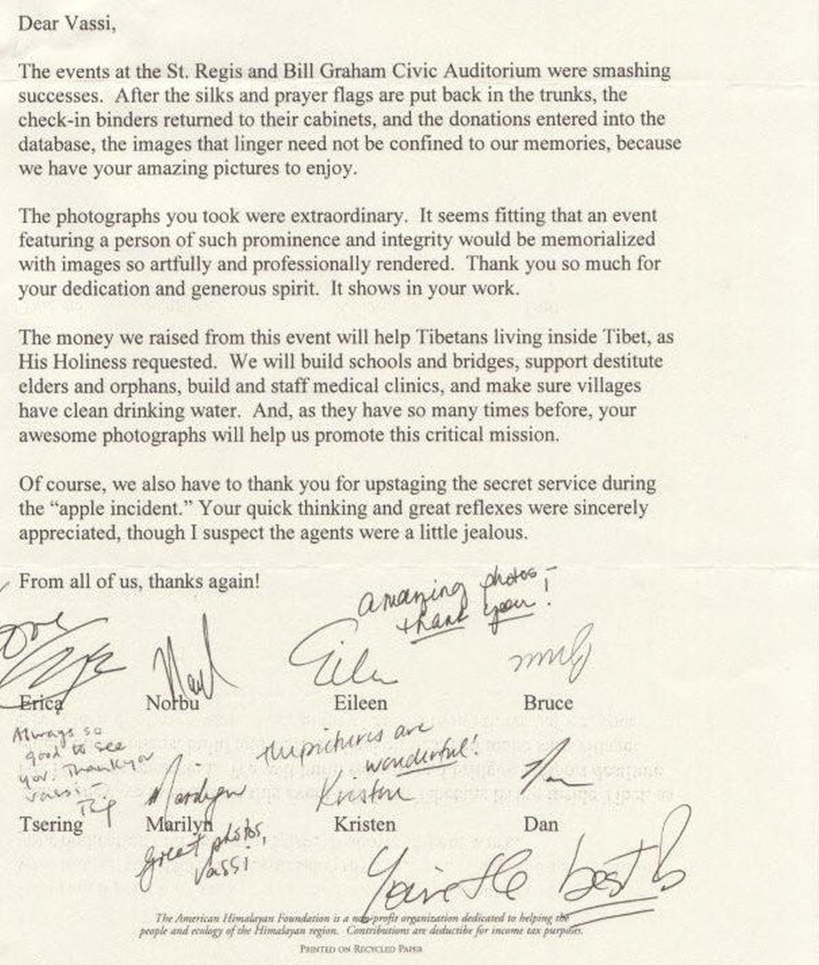 Dalai-Lama-thanks-letter