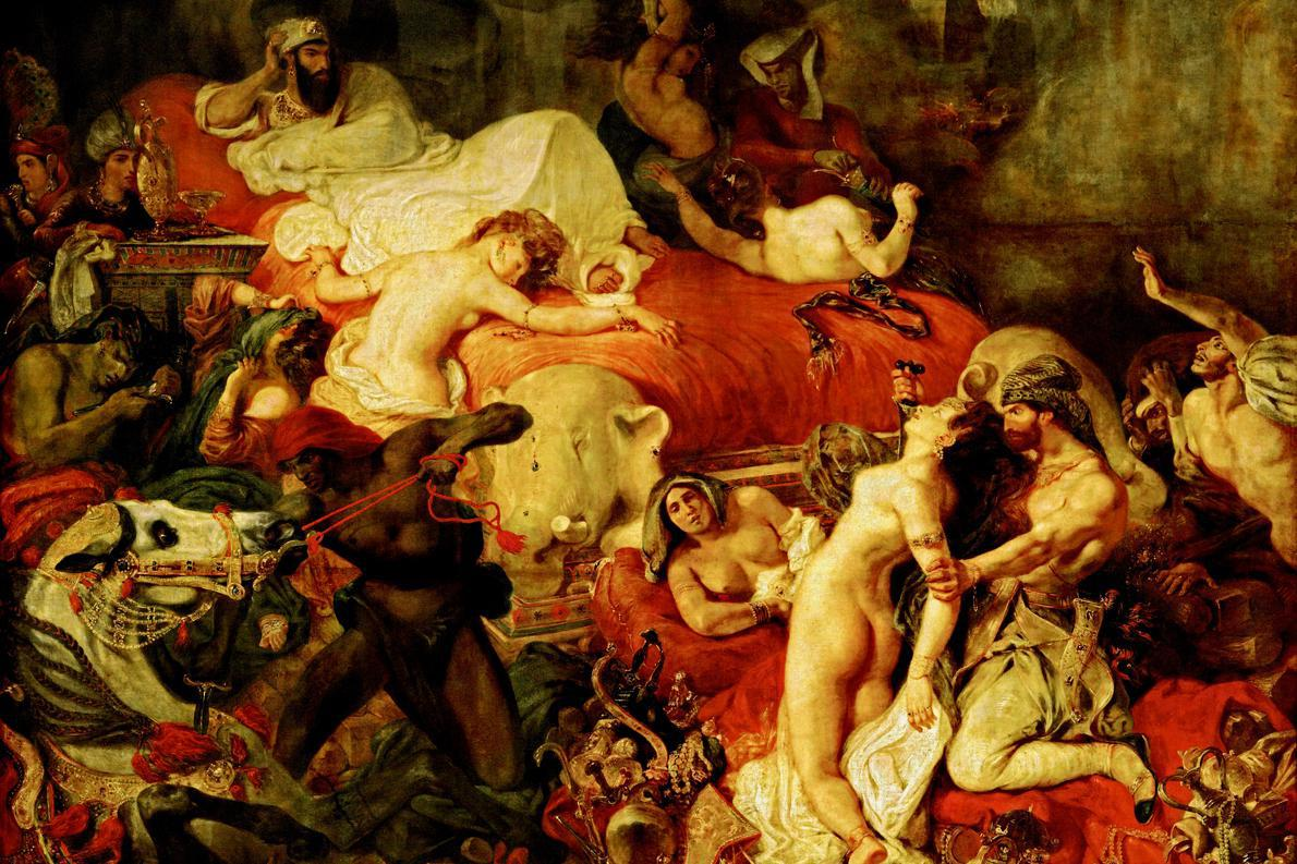 «Ο θάνατος του Σαρδανάπαλου». Πίνακας του Ευγένιου Ντελακρουά εμπνευσμένος από ποίημα του λόρδου Βύρωνα.