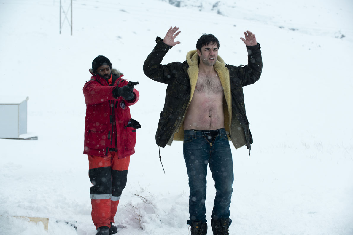 Fortitude - Season 01.Episode 02.Nicholas pinnock as Frank Sutter; Aaron McCusker as Jason Donnelly..©2015 Sky/Tiger Aspect Productions