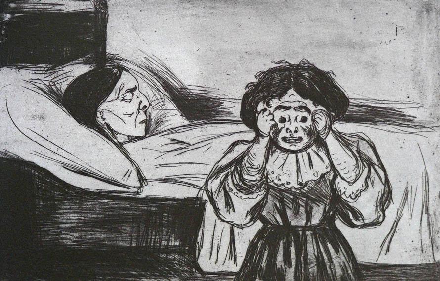 «Τι γυρεύαμε σ' αυτό το υπόγειο! / «Μάνα» τραύλισα, / κι αναλύθηκα σε λυγμούς.» (Edvard Munch, «The Dead Mother and Her Child», 1901).