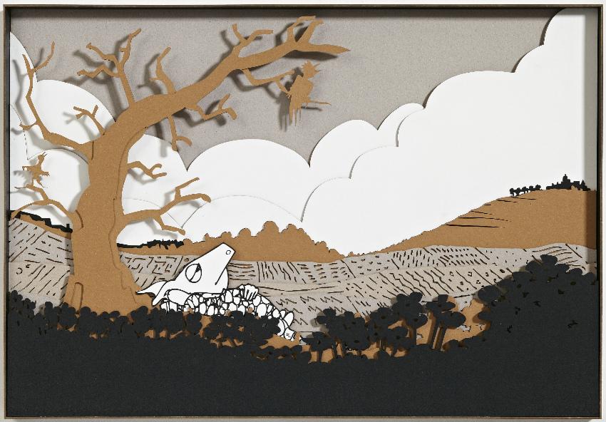 «Kοιμόμουν πότε στην εξοχή, πότε στην εσοχή», από την «έκθεση (ενός) βιβλίου: Ζαφείρης Κοντοπίθαρος», στην Γκαλερί Ζουμπουλάκη.