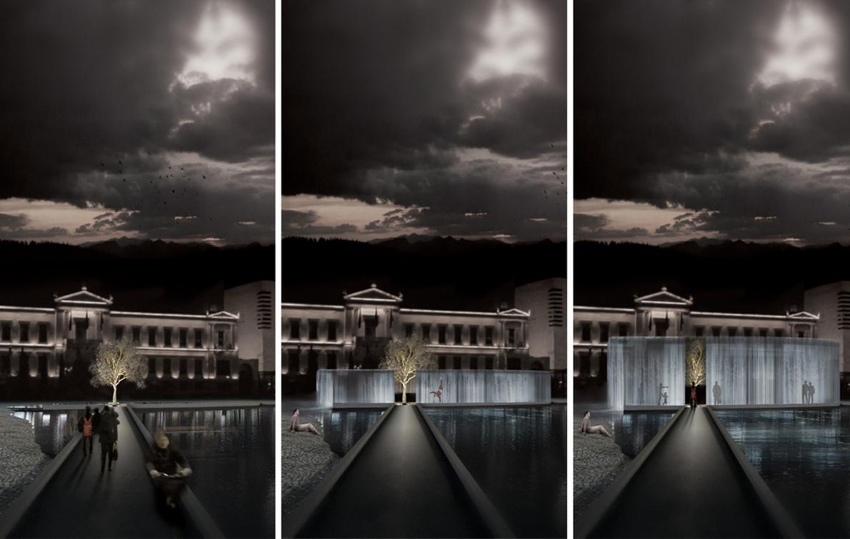 «Μας ζητήθηκε από την Athens Voice να σχεδιάσουμε ένα υποθετικό συντριβάνι για την Αθήνα. Επιλέξαμε την πλατεία Κοτζιά, γύρω από τον αρχαιολογικό χώρο της οποίας σχεδιάσαμε μια δεξαμενή νερού, που τα πρωινά μπορεί να ανυψώνεται δημιουργώντας μέσω της υπερχείλισης ένα άυλο μουσείο, μια υδάτινη κουρτίνα νερού που περιβάλλει τα αρχαία ευρήματα. Το βράδυ η δεξαμενή βρίσκεται στο επίπεδο του εδάφους, αποκτώντας το ρόλο του συντριβανιού»
