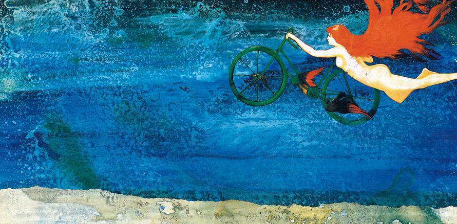 Koλάζ της Ελένης και του Δημήτρη Καλοκύρη για την «Ποδηλάτισσα» του Ελύτη