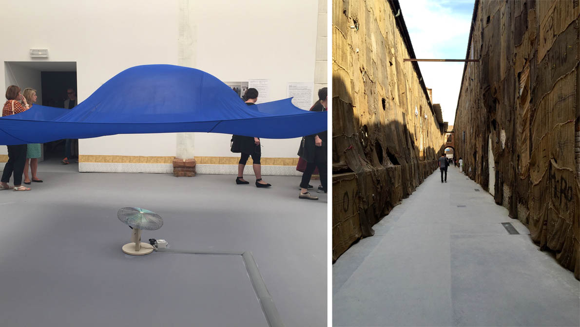 Hans Haacke, 'Blue sail', 1964-65, credit M. Vernicos | Ibrahim Mahama 'Out of Bound', 2015, credit M. Vernicos