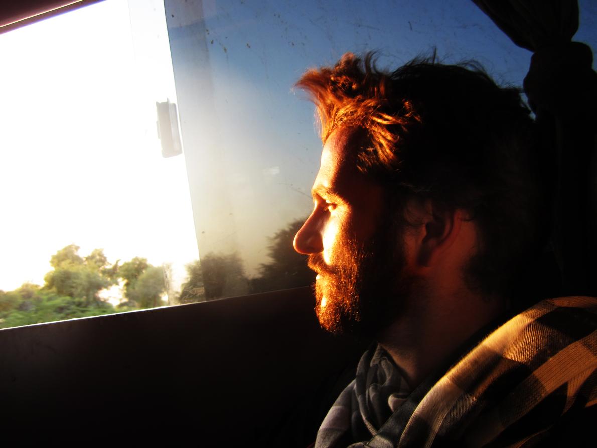 Στο λεωφορείο προς την ερημο της Jaisalmer.