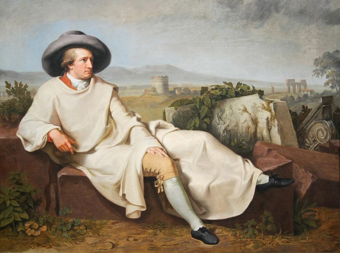 «Το ταλέντο µπορεί να καλλιεργηθεί στην ησυχία· ο χαρακτήρας µόνο στα γρήγορα ρεύµατα της ζωής», έχει πει ο Γκαίτε. (O Goethe στον καμβά του ζωγράφου Johann Heinrich Tischbein)