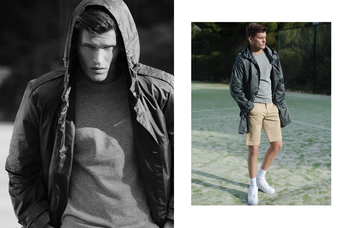 Αντιανεμικό Trussardi, πλεκτό T-shirt μακρυμάνικο Trussardi, βερμούδα La Martina, παπούτσια nike.
