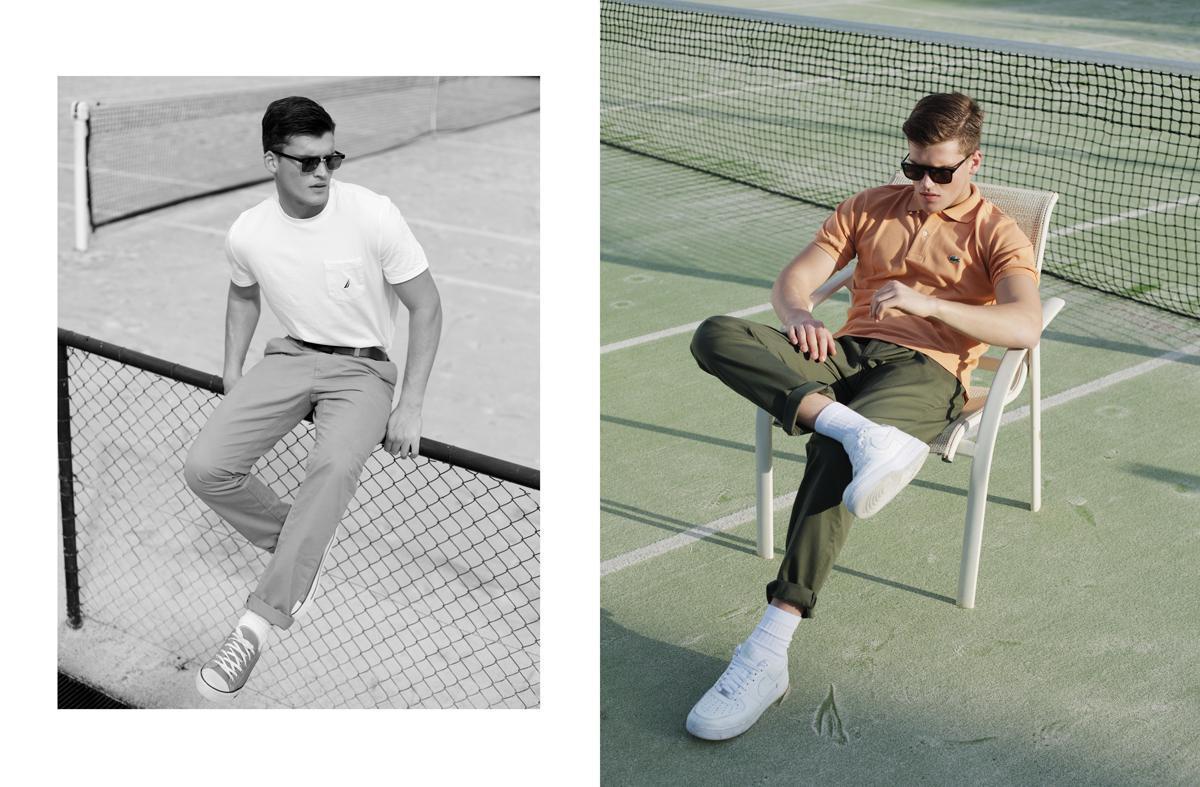 Αριστερά: T-shirt Nautica, παντελόνι Lacoste, ζώνη Lacoste ,γυαλιά Thom browne (Glassroom). Δεξιά: T-shirt καιi παντελόνι Lacoste, γυαλιά Thierry Lasry (Glassroom), παπούτσια nike.