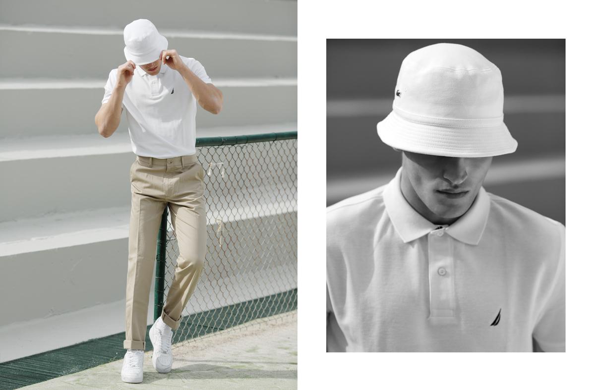 Παντελόνι και Polo T-shirt Nautica, καπέλο Lacoste, παπούτσια nike.