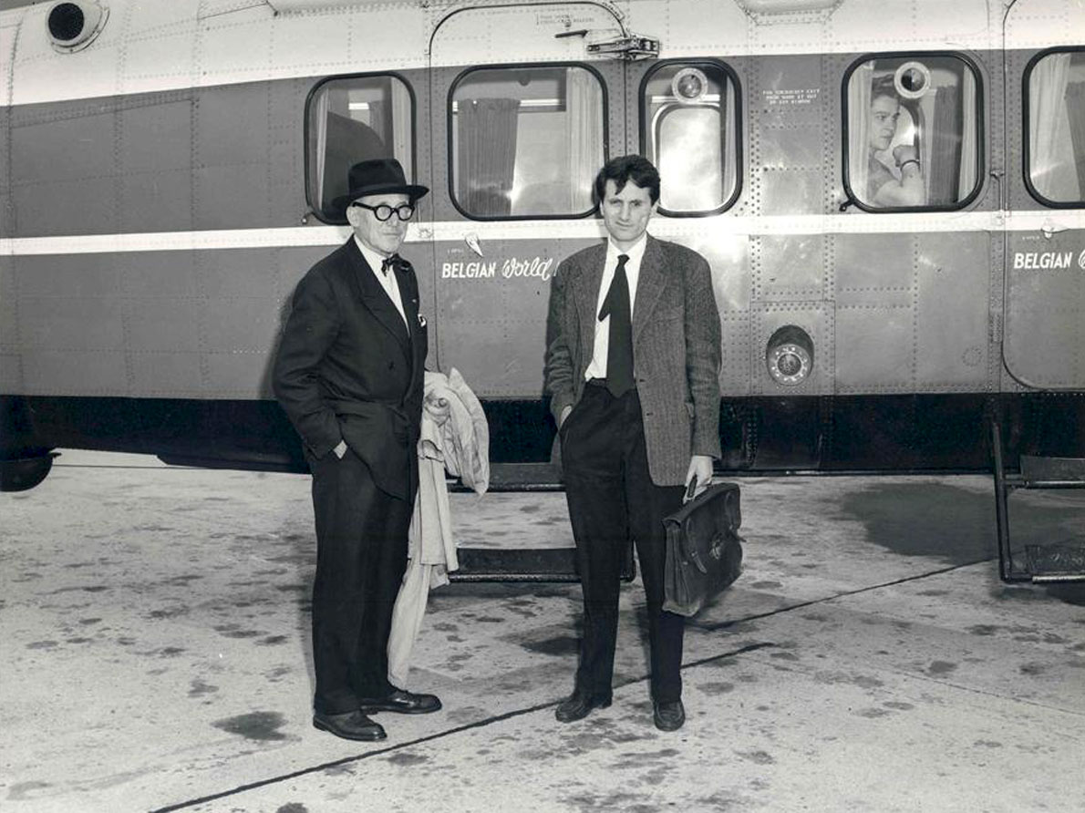 Le Corbusier και Ξενάκης το 1958. Photo Credit: Sabena FLC/ADAGP