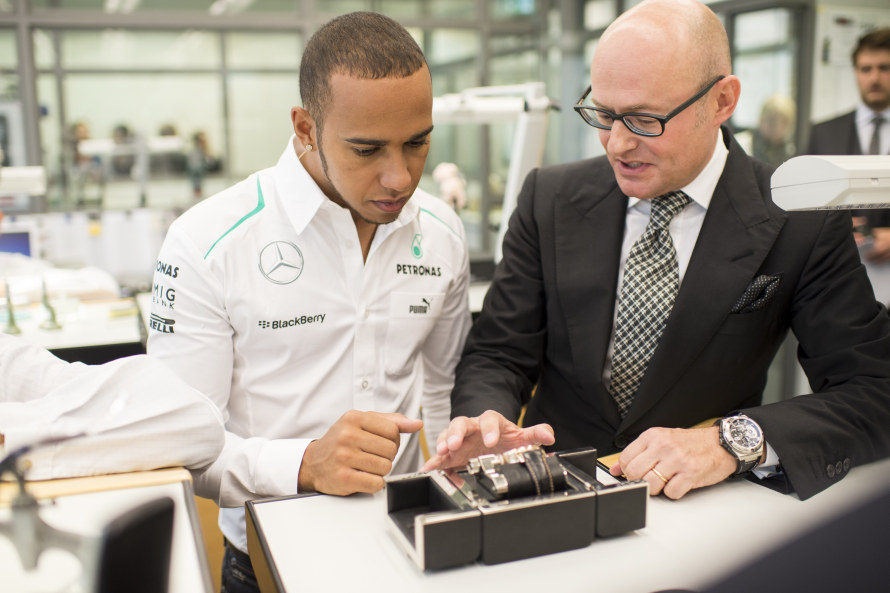 Lewis Hamilton with IWC CEO Georges Kern