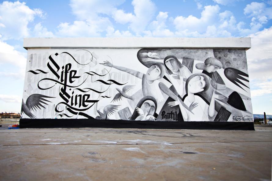 Lifeline Mural Urban Calligraphy Simon Silaidis ft. Fikos
