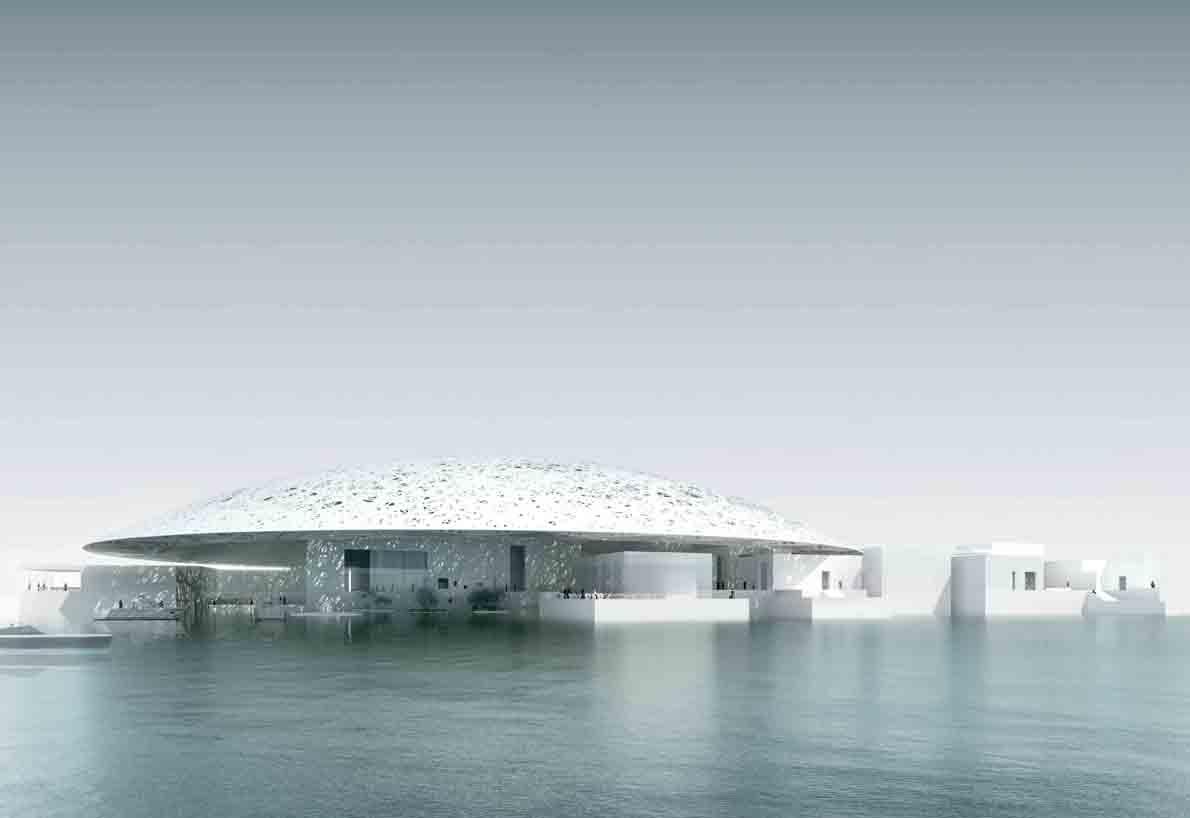 "The Louvre Abu Dhabi Museum"", σχεδιασμένο από τον γάλλο αρχιτέκτονα Jean Nouvel."