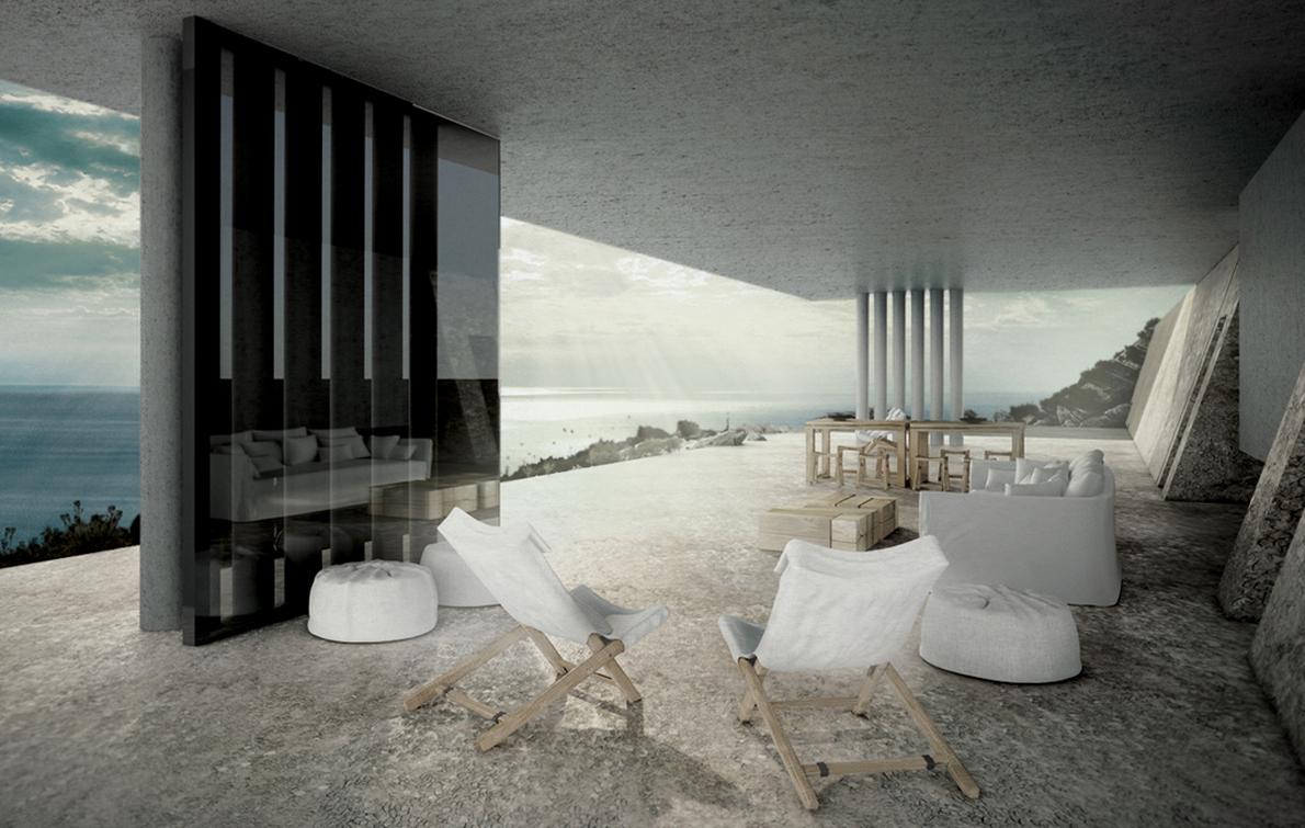 «Η κατοικία είναι κάτι σε πολλούς Έλληνες αρέσει να επιδεικνύουν. Αντίθετα το συγκεκριμένο σπίτι, σχεδιάστηκε με σκοπό να μην είναι ορατό, κάτι που επιτυγχάνεται μέσα από ένα «παιχνίδι» αντανακλάσεων του νερού της υδάτινης στέγης»