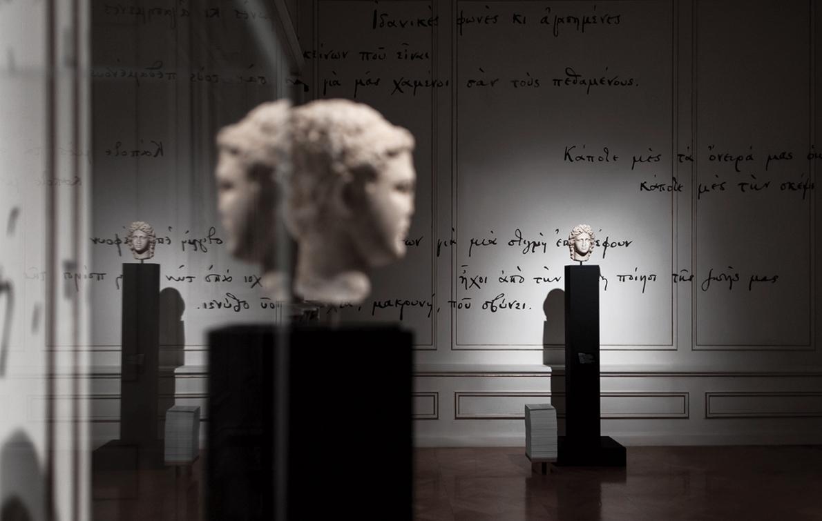 Aπόψεις από την έκθεση «Ιδανικές ''μορφές'' κι αγαπημένες…» (Μουσείο Κυκλαδικής Τέχνης,έως 30/03), τον Εικαστικό Σχεδιασμό Λογοτύπησης και την Καλλιτεχνική Επιμέλεια της οποίας συνυπογράφει ο Στέλιος Κόης. «Ανέκαθεν μου άρεσε το έργο του Καβάφη, οπότε ενθουσιάστηκα με την ιδέα μιας αρχαιολογικής έκθεσης γλυπτών και αντικειμένων που επηρέασαν το έργο του. Ήταν ένα διαφορετικό και πολύ ενδιαφέρον ταξίδι για μένα», σχολιάζει. Photography by © Giorgos Sfakianakis