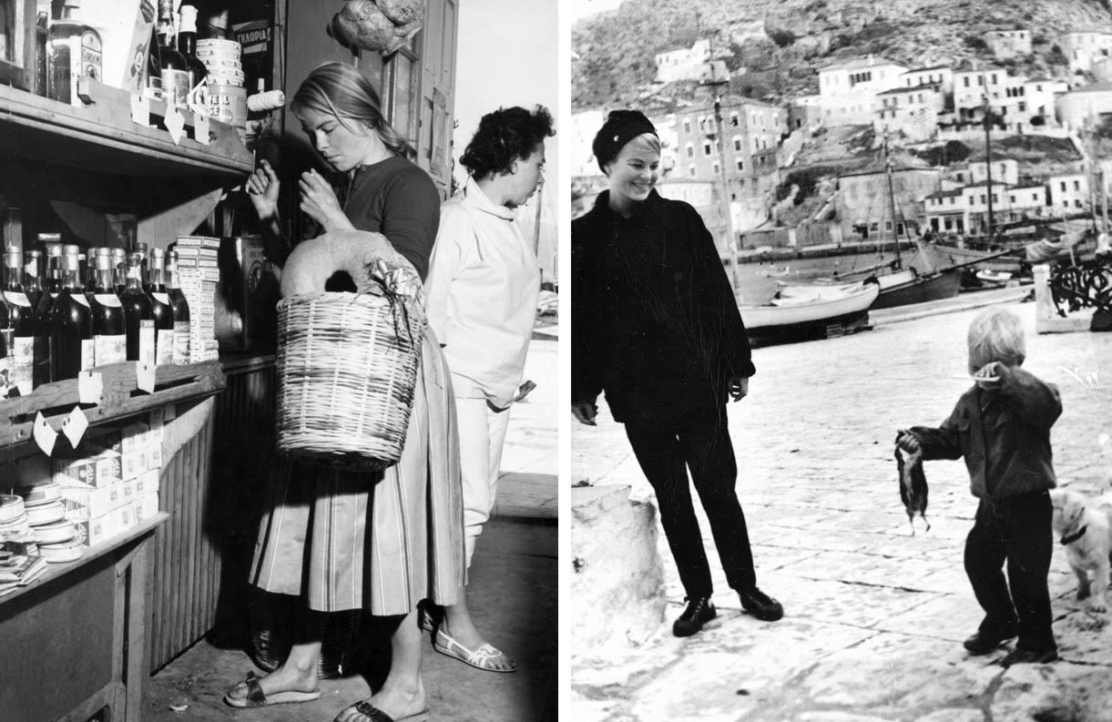 Η Μαριάννε ψωνίζει με το καλάθι της στο μπακάλικο του Κάτσικα, εκεί που πρωτογνώρισε τον Λέναρντ. Δεξιά: Με τον μικρούλη Άξελ στο λιμάνι της Ύδρας, την Άνοιξη του 1962.