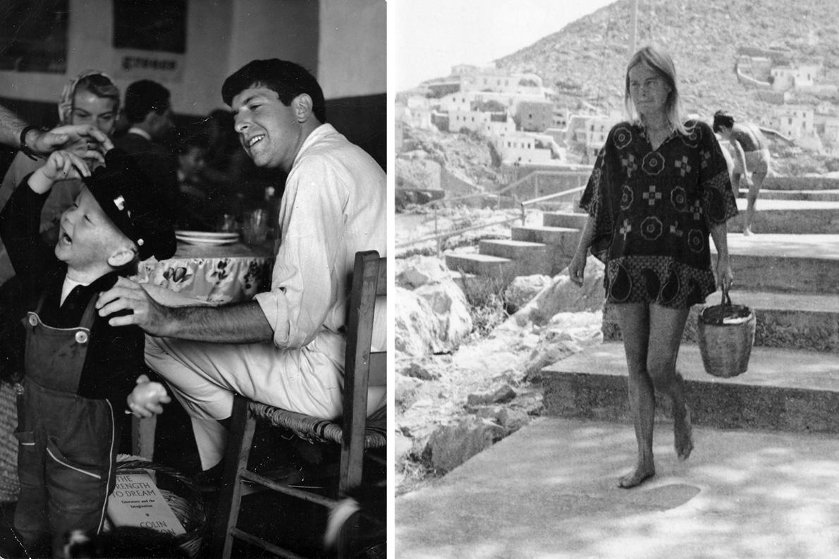 Αριστερά: Ο Λέναρντ με τον μικρούλη Άξελ (γιο της Μαριάννε από το γάμο της με τον Νορβηγό συγγραφέα Άξελ Γιένσεν) στην ταβέρνα του Γράφου. Δεξιά: Η Μαριάννε πηγαίνει για κολύμπι στη Σπηλιά.