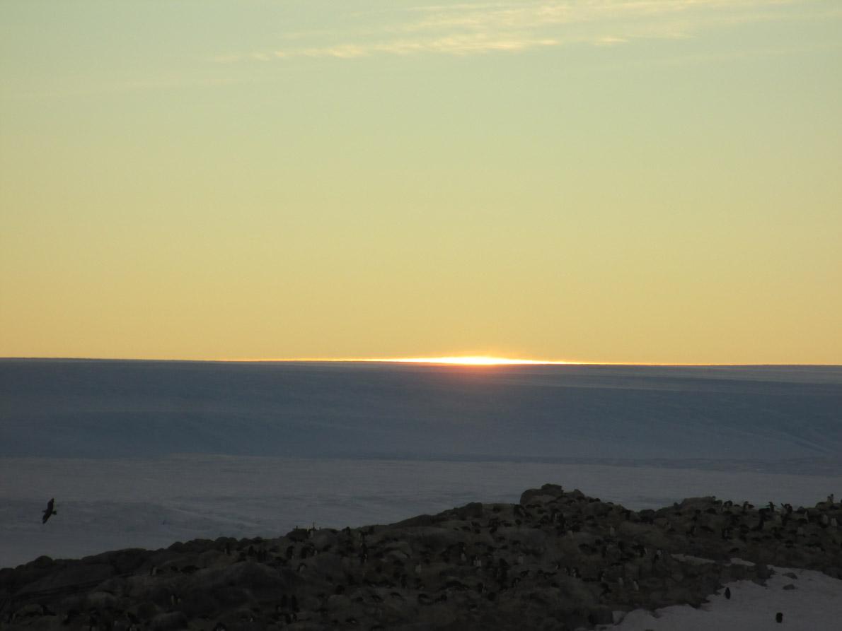 Midsummer sunrise at DDU