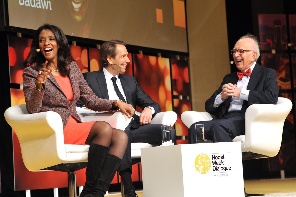 Zeinab Badawi,Jeff Koons, Eric Kandel Photo Credit: Nobel Media AB 2014/Jonas Borg.