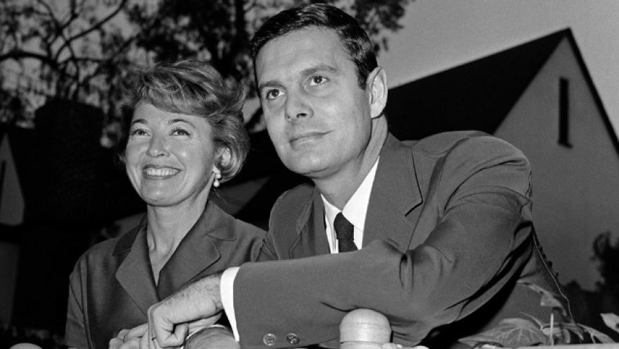 In this Jan 1951 Louis Jourdan and wife Berthe Fredrique pose at their home in Beverly Hills, Calif