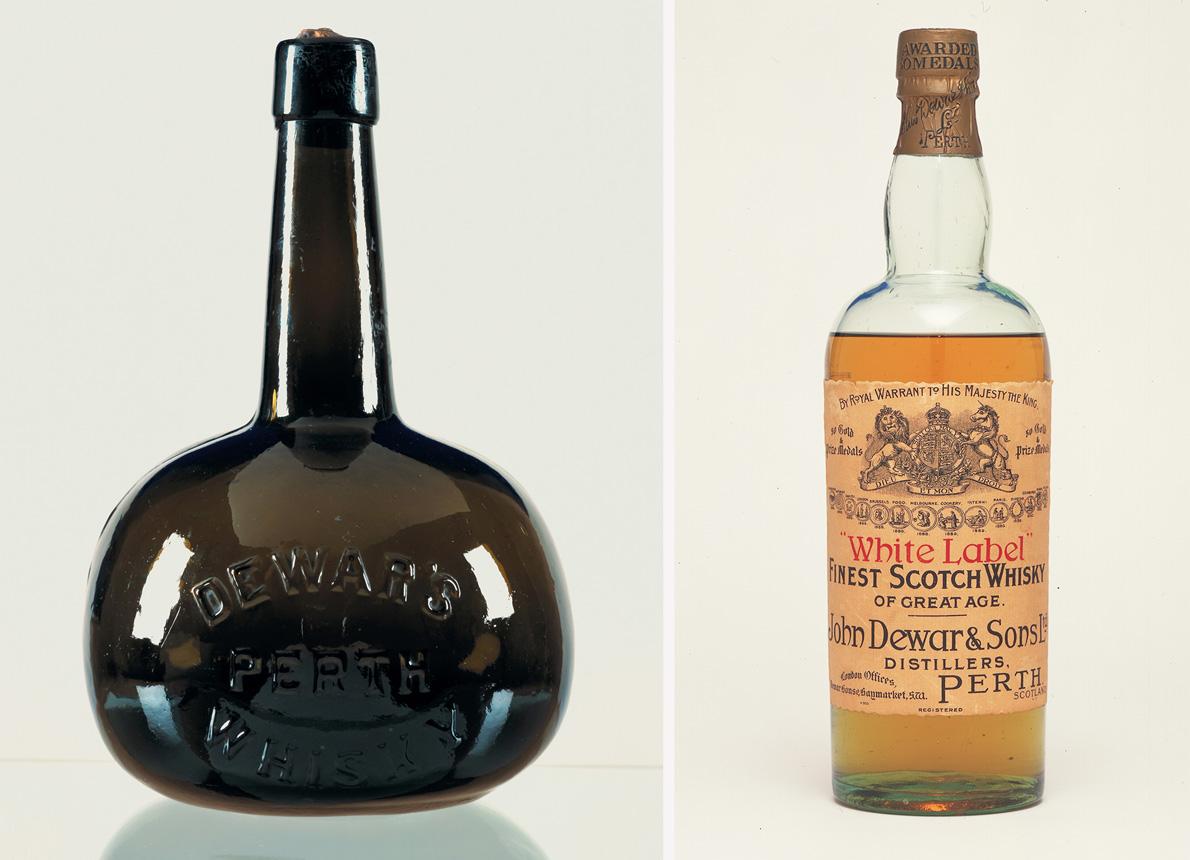 Παλιά μπουκάλια, 1890 αριστερά και White Label, 1910 δεξιά