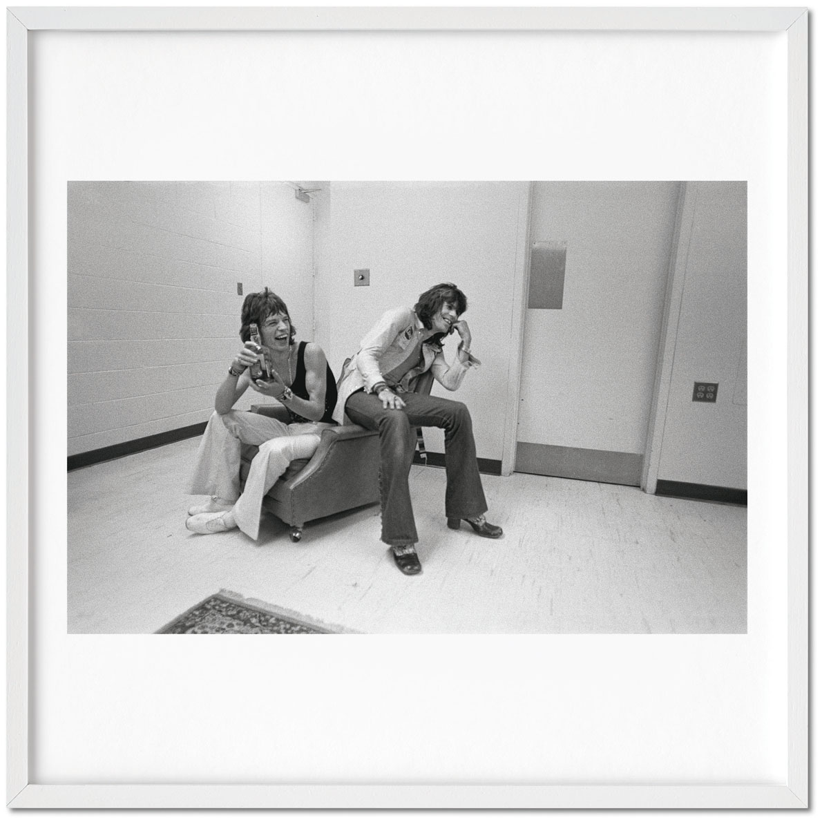 "Ethan Russell Mick Jagger and Keith Richards ""laugh"" (1972), signed by photographer Ethan Russell, Archival pigment print"