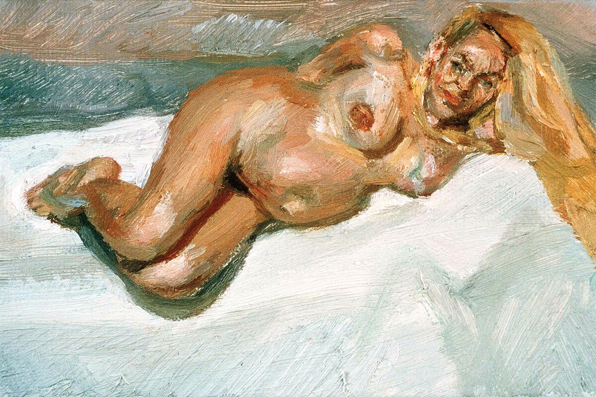 """Η Τζέρι Χόλ έγκυος στο γιό του Μίκ Τζάκερ, Γκάμπριελ. Ο πίνακας """"eigh months gone"""" πουλήθηκε τον Οκτώβριο του 2010 προς 600.000 στερλίνες."""