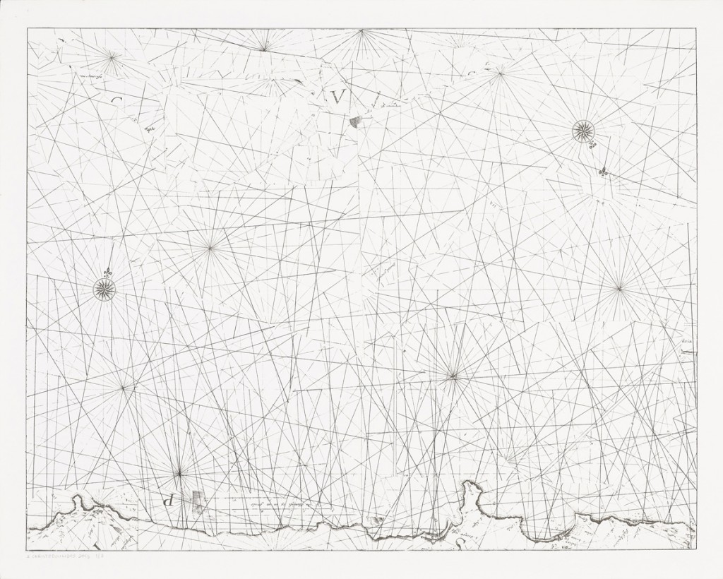 "Σάββας Χριστοδουλίδης ""The Remaining I"", 2015, found nautical map of Cyprus with hand collage, ink on paper, 44 x 55 cm"