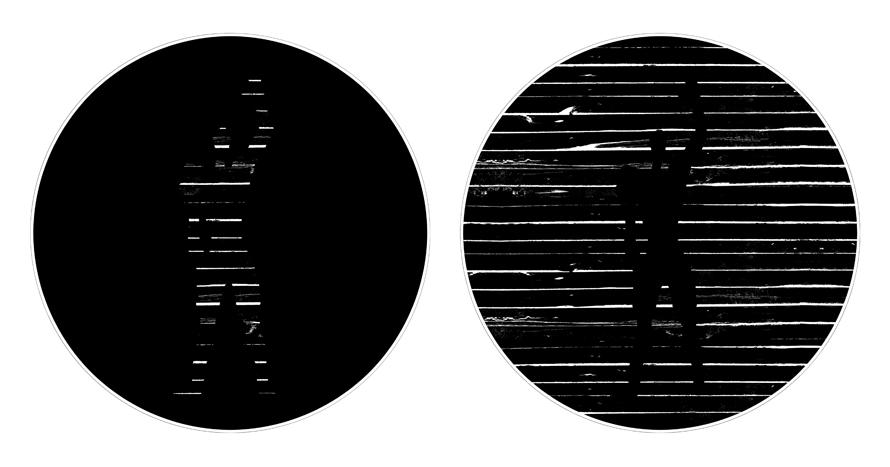 Μαρία Λιανού / Πάνος Ξενάκης / Αλέξανδρος Χριστοφίνης,  «Αζάντ· παγκόσμια μέτρηση», 2014: Ένας ξύλινος τοίχος με χαραμάδες και πίσω του ένα thaumatrope που το κινεί ο θεατής-καλυβίτης ενεργοποιώντας τις εικόνες του. Οι εικόνες της επιθυμίας είναι οι εικόνες του Άλλου. Η καλύβα είναι οι χαραμάδες της, οι λόχμες αυτού του φωτός που διεγείρει και τις σκιές του, ένα πλατωνικό σπήλαιο, και τίποτε άλλο.