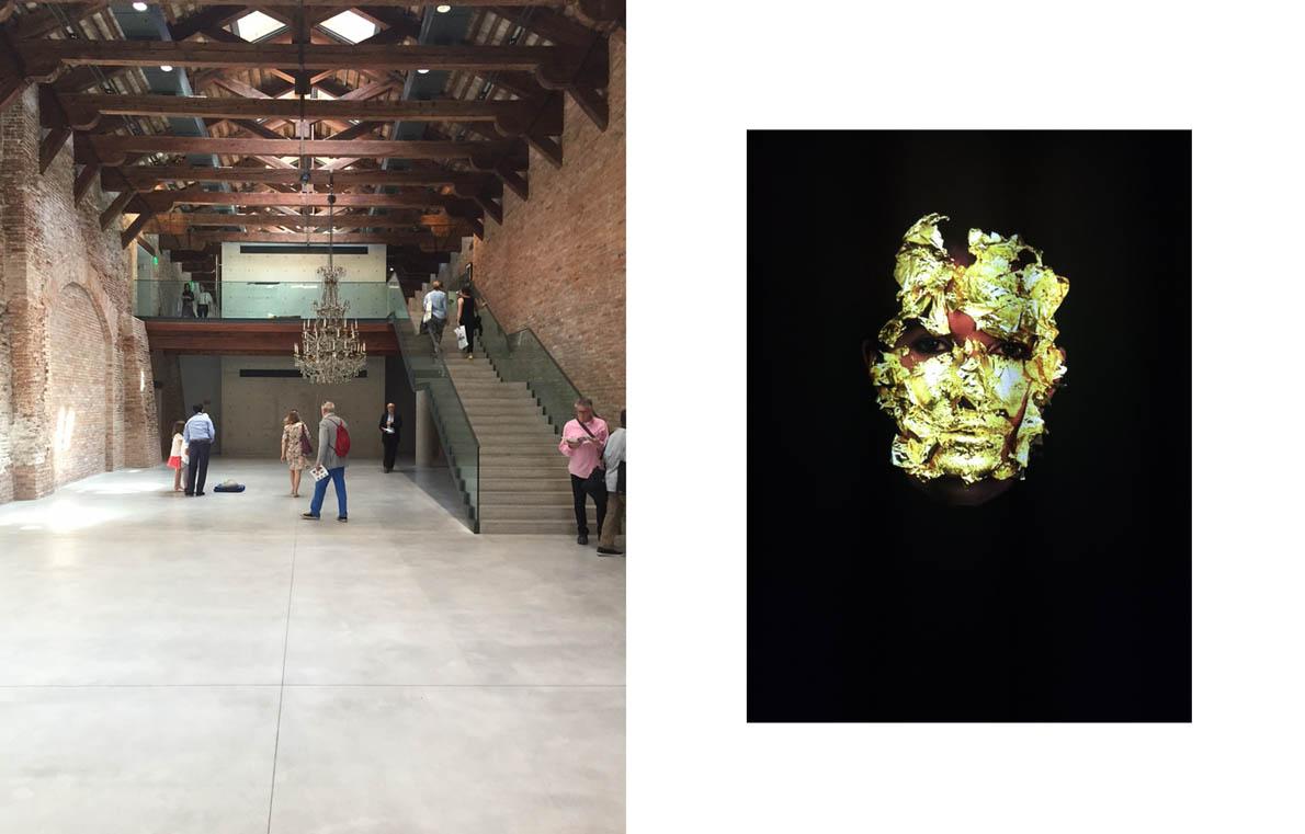 'Slip of the Tonue' exhibition @ Punta della Dogana, Pinault Collection   Proportio, Marina Abramovich,'Golden Mask', video, 2009 at Palazzo Fortuni