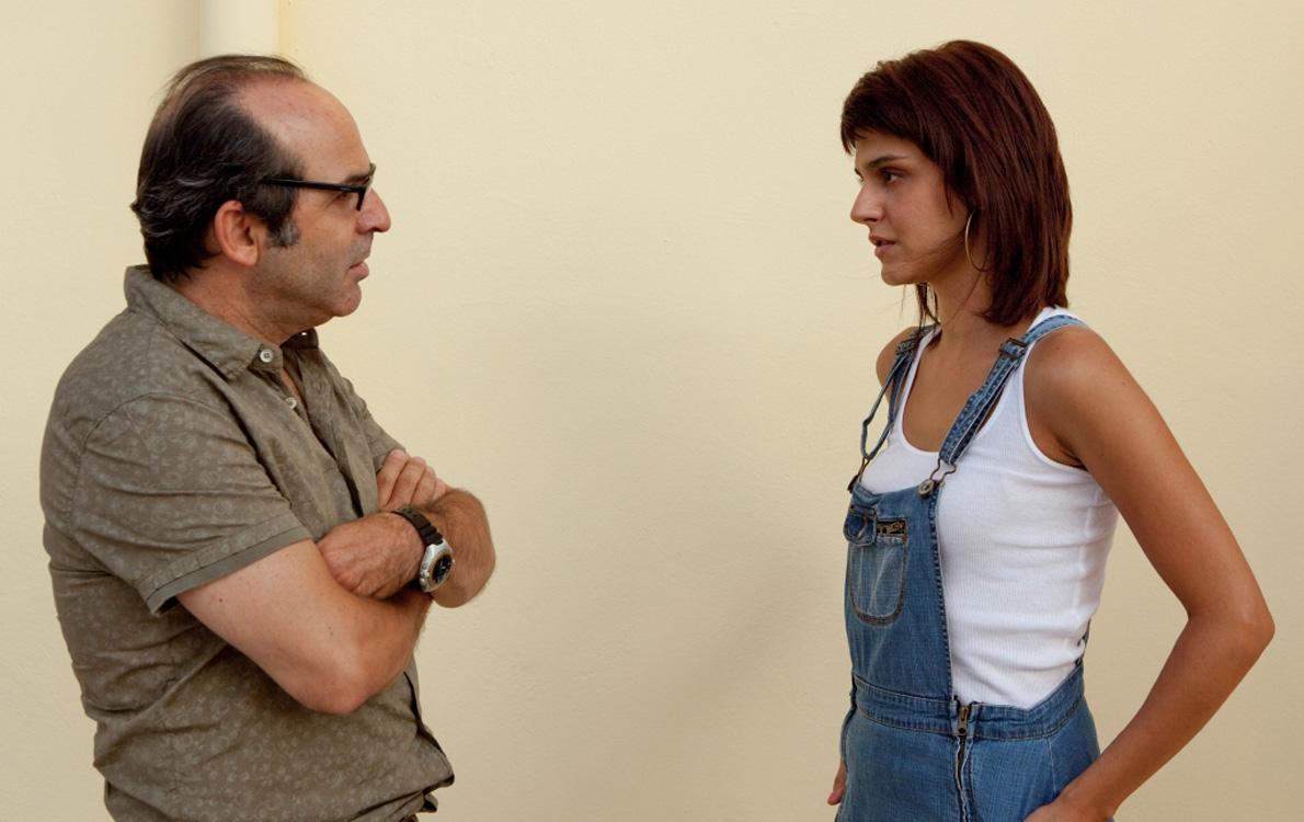 Από τα γυρίσματα της ταινίας «45 τετραγωνικά», με την Έφη Λογγίνου.