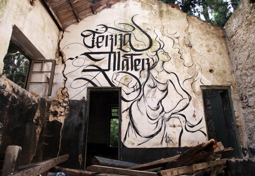 Terra Mater Mural Urban Calligraphy Simon Silaidis ft. Moka Art