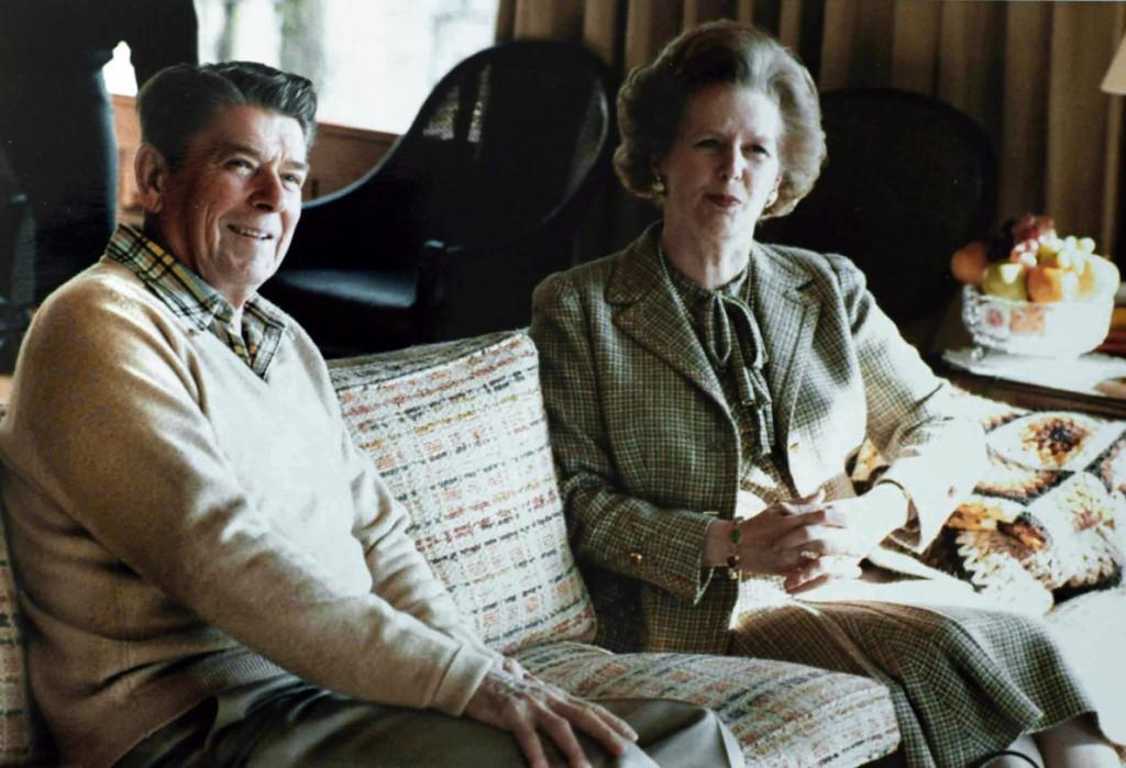 Margaret Thatcher with Ronald Reagan at Camp David