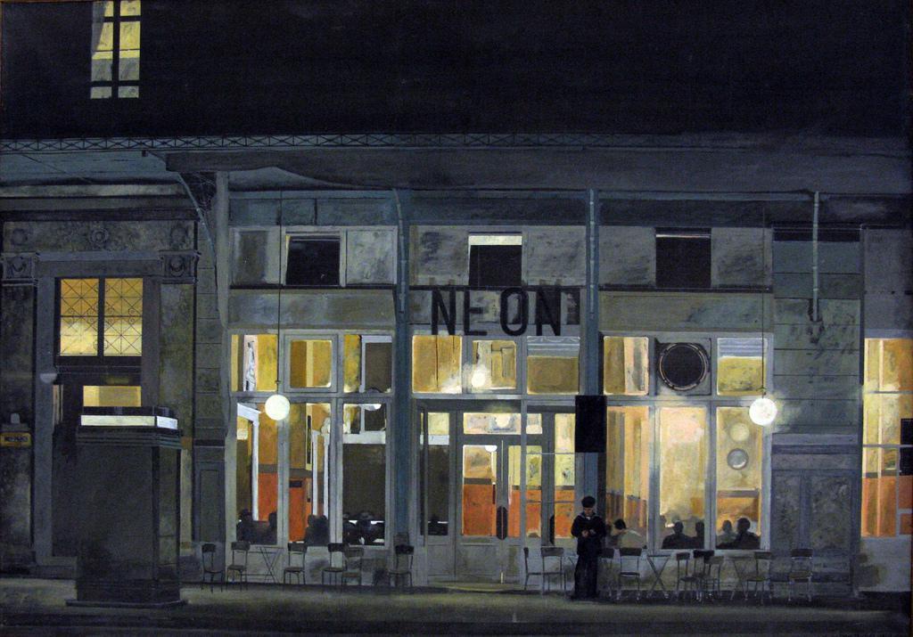 """Γιάννης Τσαρούχης (1910-1989), Καφενείο το """"Νέον"""" (νύχτα), 1965-1966 λάδι σε μουσαμά, (αρ. έργου 3498). Μόνιμη συλλογή της Εθνικής Πινακοθήκης, Αθήνα. Credit: Tilemahos Efthimiadis"""