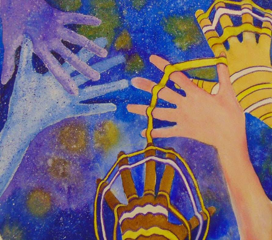 κοινωνικό, αποκτά και εικόνα «κρίσης». Πχ λέει κάπου '' Τώρα βλέπω διάφορες συλλογικότητες να αρχίζουν να ανθούν γύρω, και αυτό με χαροποιεί'' . Credit: 'Together we shape the universe' by Agnés