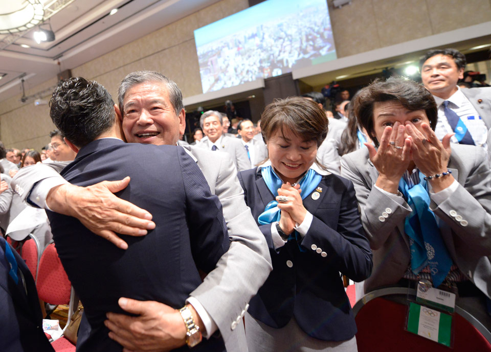 The Tokyo 2020 team celebrates after the election of Tokyo during the 125th IOC Session, Buenos Aires, Argentina IOC/Richard Juilliart