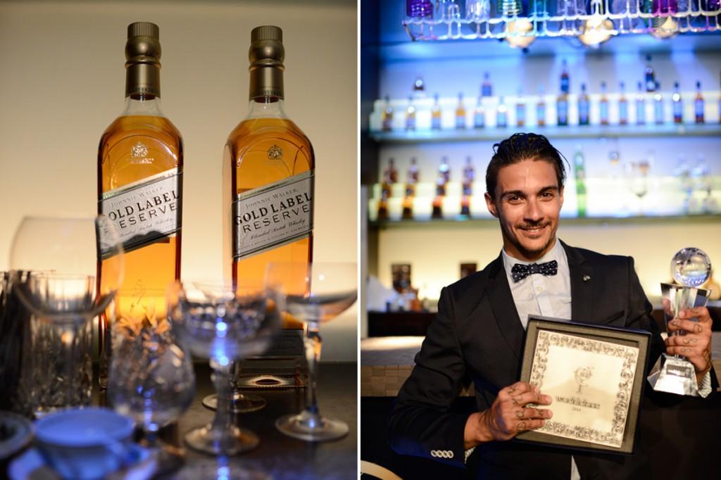 Ο Τεό Σπυρόπουλος, με το βραβείο του Έλληνα Bartender of the year 2014 ανά χείρας.