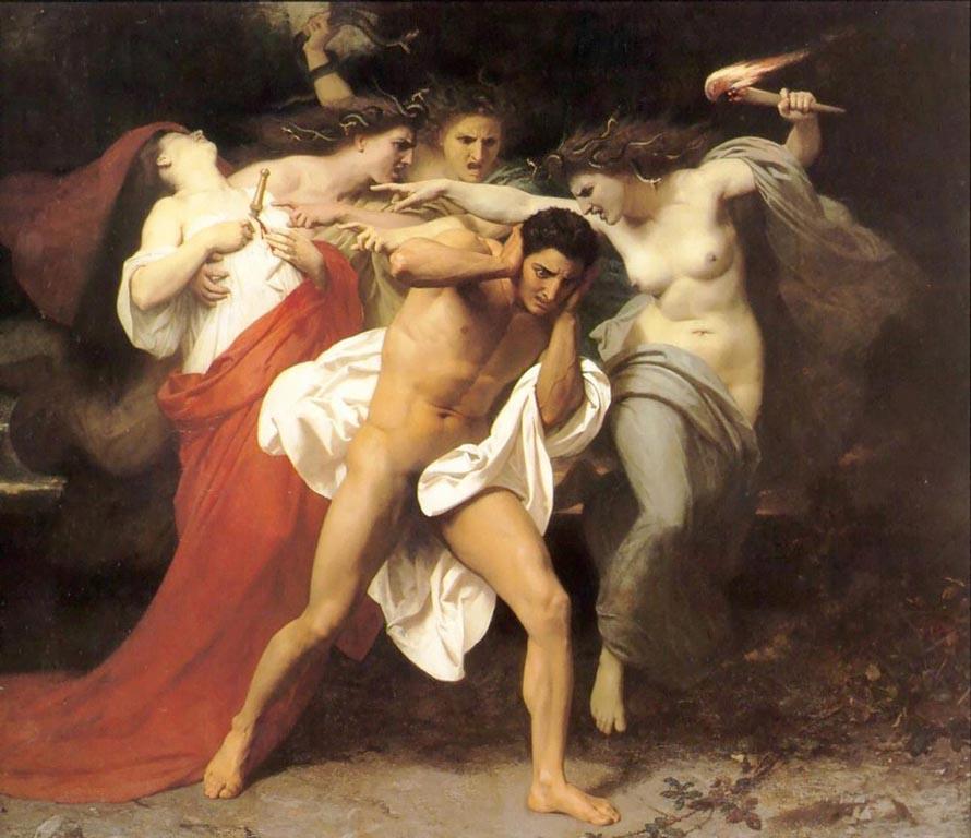 Οι Ερινύες καταδιώκουν τον Ορέστη. William Adolphe Bouguereau, 1862.