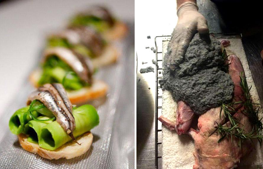 Αριστερά: Brusceta με avocanto lime και sardines toping. Δεξιά: Κατσικάκι με μελάνι σουπιάς.