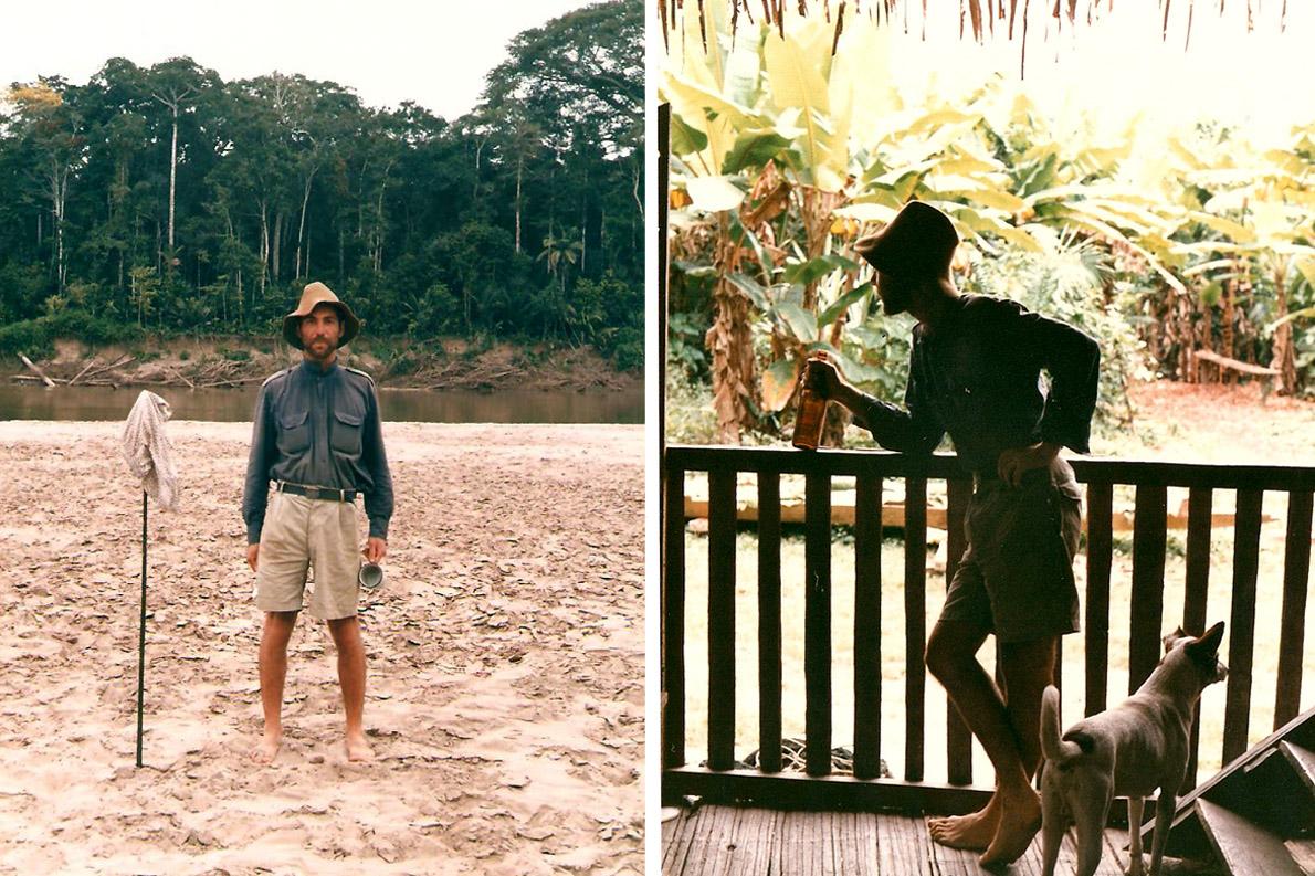 Αριστερά: Boca Manu, μετά μιάμισυ ημέρα δίχως φαγητό. Φωτό Κ.Γκόφας 1988. Δεξιά: Στη Boca Manu, με ένα μπουκάλι μπύρα και ένα σκύλο. Φωτο. Κ.Γκόφας