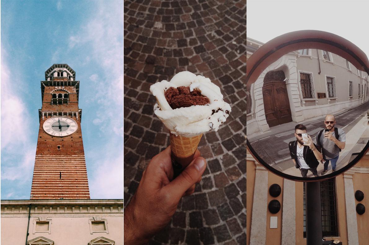 Η Βερόνα μας υποδέχτηκε με καλό καιρό, υπέροχο gelato, και εννοείται ότι αδράξαμε την ευκαιρία για selfie με τον Γαβριήλ Νικολαΐδη (αριστερά).