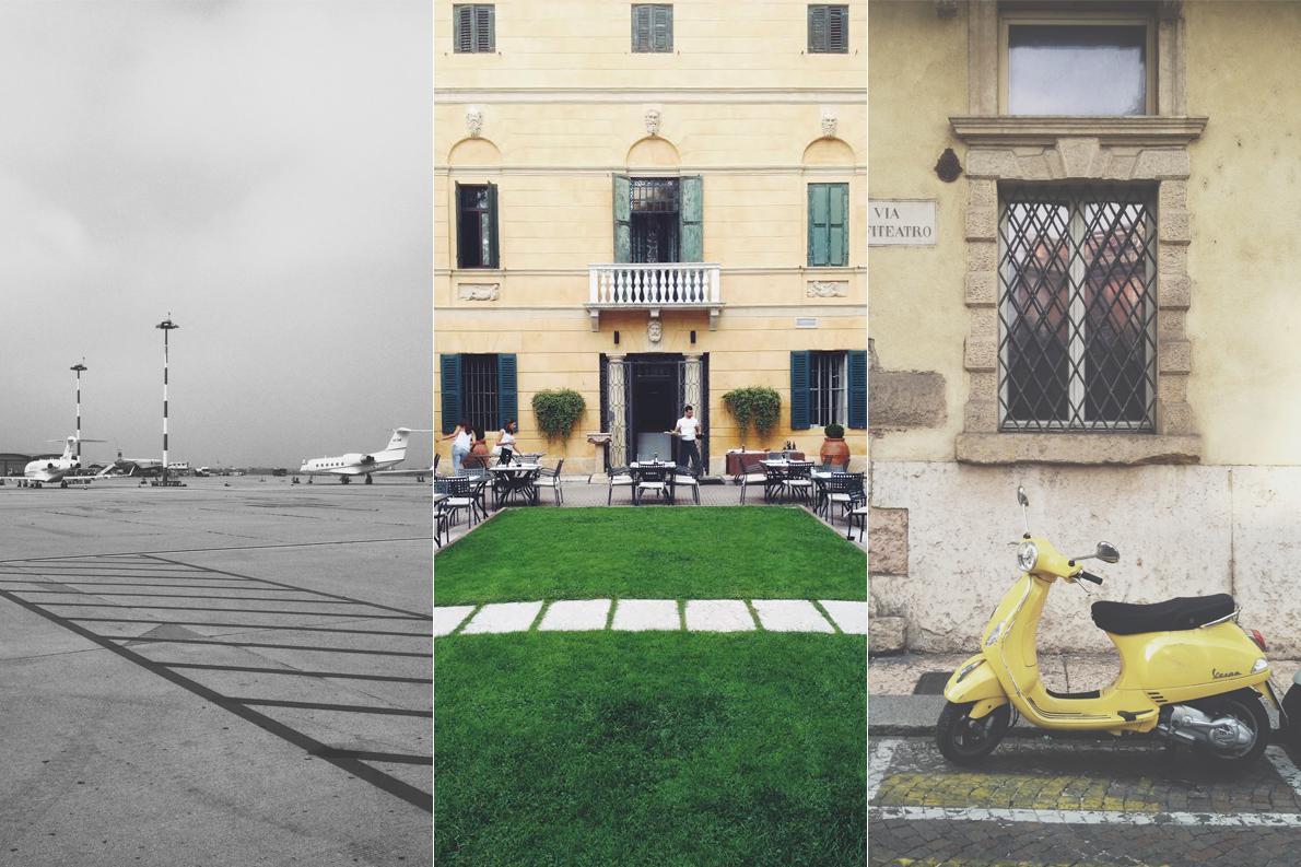 Αριστερά, λιλιπούτεια αεροπλάνα στην αεροπορική πίστα της Βερόνας, που έμοιαζε περισσότερο συννεφιασμένη από ότι ήταν τελικά. Στη μέση, η pizzeria Leon d'Oro που μας εφοδίασε με παραδοσιακή τραγανή πίτσα, και δεξιά, η Vespa - ένα δίκυκλο σήμα κατατεθέν της Ιταλίας.