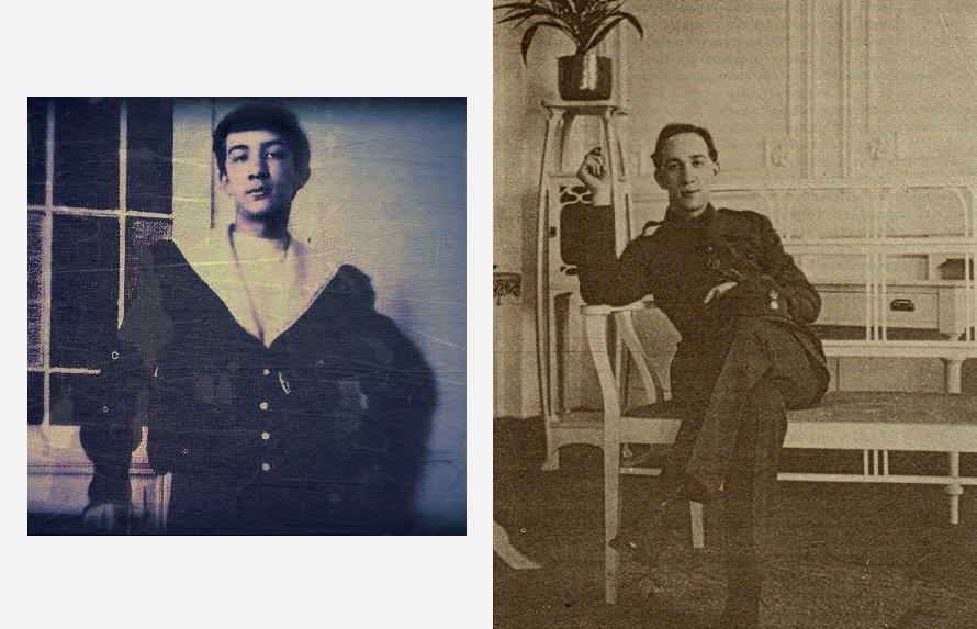 Δεξιά με την στολή του έφεδρου ανθυπολοχαγού (Συλλογή Κ. Καζάζη).