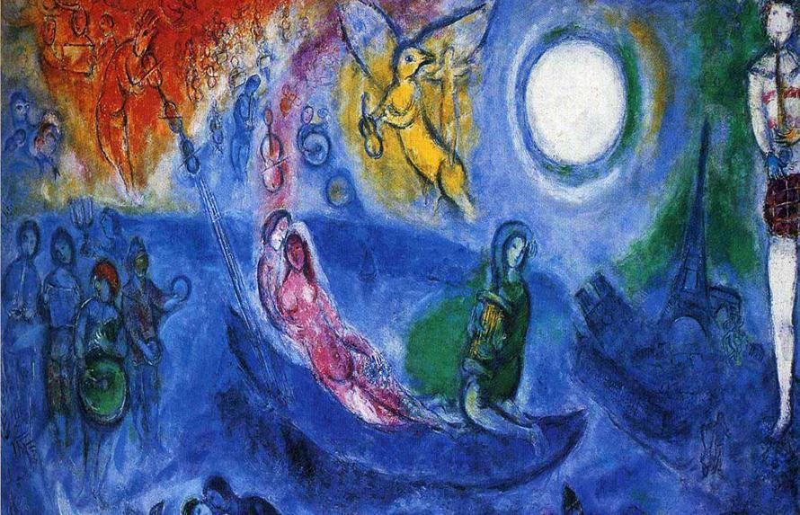 """""""...και την απέραντη και τρυφερή της ερημιά / που θα ποτίζει στο ζυμάρι, / το κονιάκ και τα μπαχαρικά / τη μαύρη κότα των Χριστουγέννων"""" (Δημήτρης Καλοκύρης, «Η ερμηνεία των μάγων (III)». Πίνακας του Marc Chagall"""