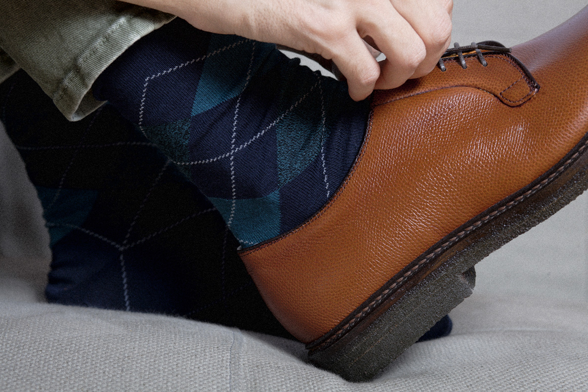 Παπούτσια χειροποίητα ALDEN  Mah Jong, καλτσες Calzedonia