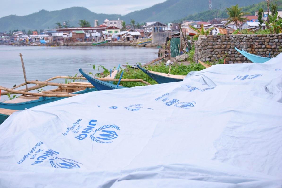 Κατεστραμμένες ψαρόβαρκες στις ακτές του Τάκλομπαν σκεπασμένες με τις πλαστικές τέντες της Ύπατης Αρμοστείας του ΟΗΕ. Το μεγαλύτερο μέρος του εισοδήματος των κατοίκων  προερχόταν από την αλιεία και τις φυτείες κοκοφοίνικα. Σήμερα και οι δυο αυτές δραστηριότητες έχουν σταματήσει, βυθίζοντας τους κατοίκους σε ακόμα μεγαλύτερη ανέχεια. Περισσότερα από 33 εκατομμύρια κοκοφοίνικες καταστράφηκαν από τον τυφώνα, ενώ οι ιχθυοκαλλιέργειες έχουν πλέον χαθεί.