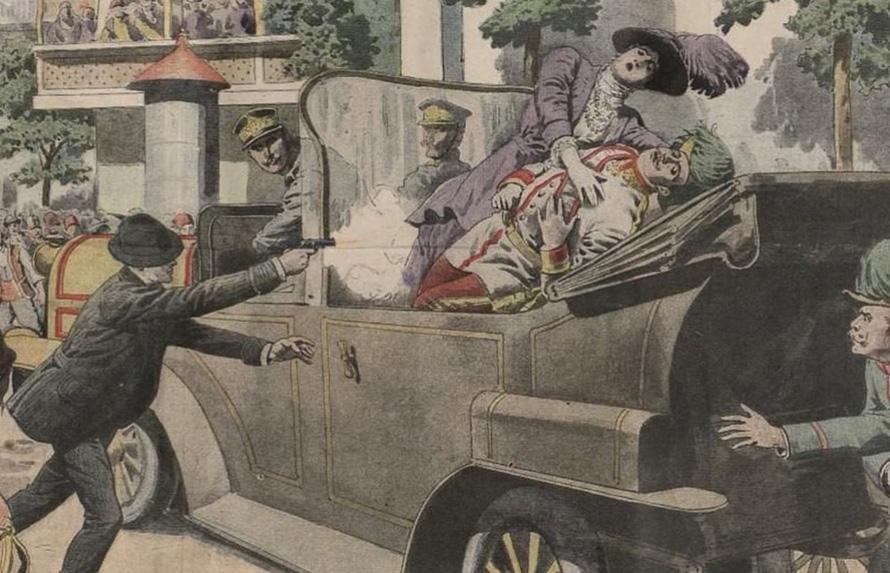 Απεικόνιση της δολοφονίας του διαδόχου της Αυστρο-ουγγρικής αυτοκρατορίας Φραγκίσκου Φερδινάνδου και της συζύγου του Σοφίας στο Σαράγιεβο, στις 28 Ιουνίου του 1914.